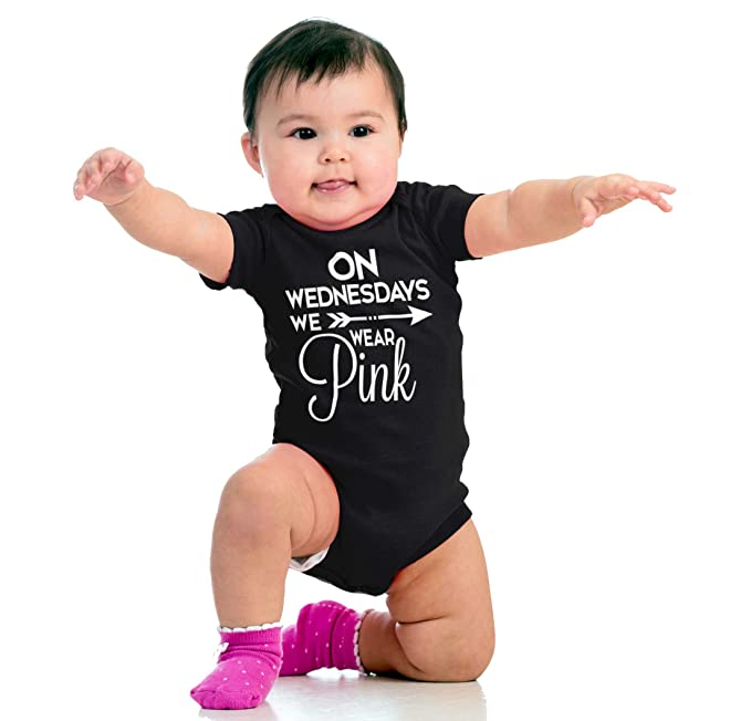 Brisco Brands Wednesday Wear Pink Cute Newborn Pretty Mean Funny Girls Baby Romper Bodysuit