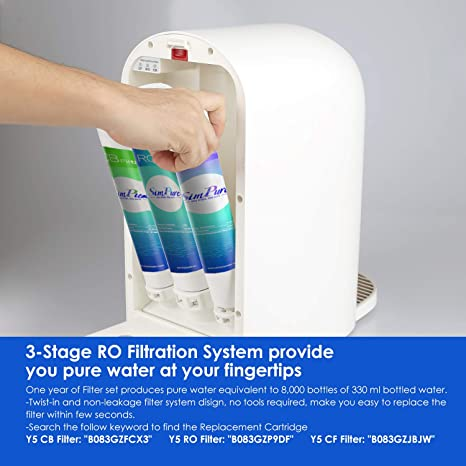 SimPure Y5 CF Filter Replacement Cartridge for Countertop Reverse Osmosis Water Filtration System with 4 Temperature Modes 1 pack 3-6 Months Replacement Cartridge
