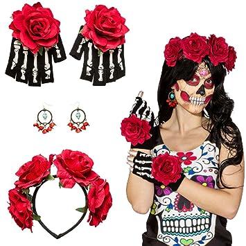 Set disfraz La Catrina Accesorio mexicano Banda del pelo, pendientes, guantes Complemento Día de