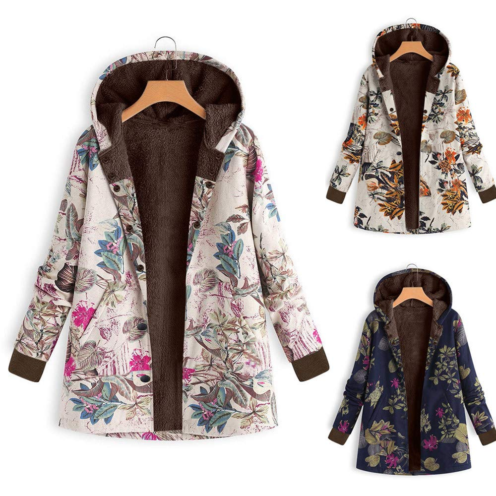 351f082dd2d Women s Hooded Jacket Long Sleeve Zip Thickening Composite Plush Vintage  Floral Print Oversize Pockets Outwear at Amazon Women s Clothing store