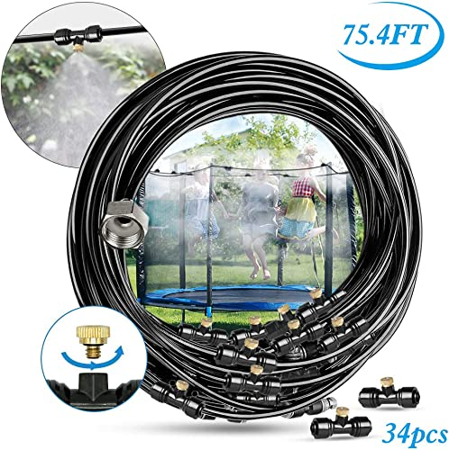 Innoo Tech Misting Cooling System 75.4FT 23M Misting Line 34 Upgrade Brass Mist Nozzles a Brass Adapter 3 4 Outdoor Mister