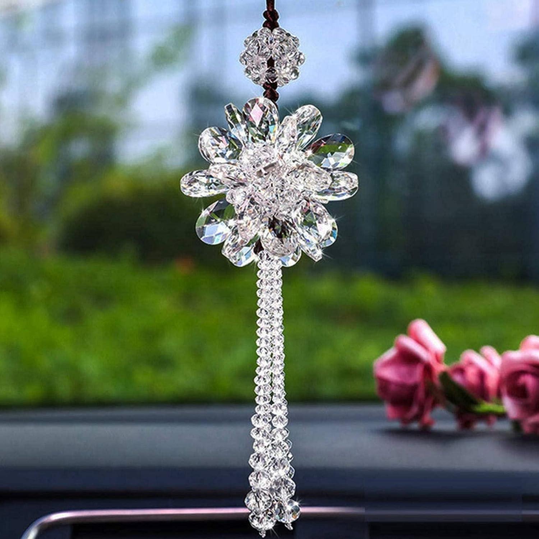 Popcornon Crystal Flower Car Ornaments Car Rearview Mirror Pendant /& Car Rearview Mirror Pendant Pendant