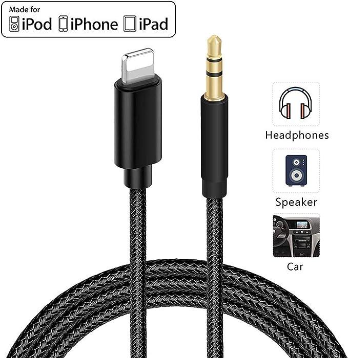 Image ofCable Auxiliar para iPhone Cable Auxiliar para Auto a Jack de 3.5mm para iPhone 11/Pro/8/7/Plus/XS/XR a Radio de Coche/Adaptador de Altavoz/Auriculares Compatible con Todos los iOS - Negro