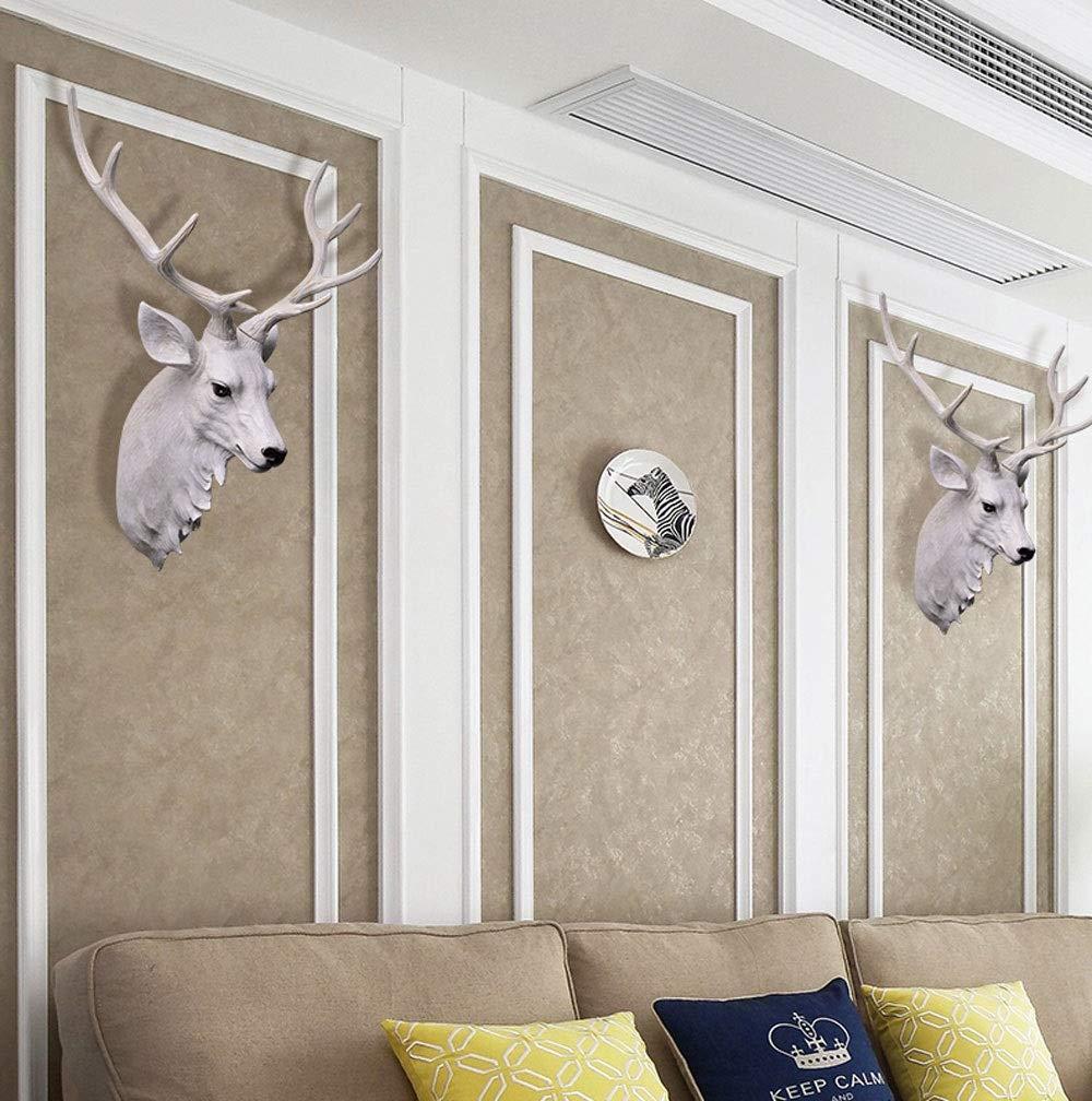 T/ête Danimal D/écoration Murale R/étro Simulation Art D/écoration R/ésine T/ête De Cerf Artificiel T/ête Demi De Corps T/ête De Cerf Suspendus Mur Color : White