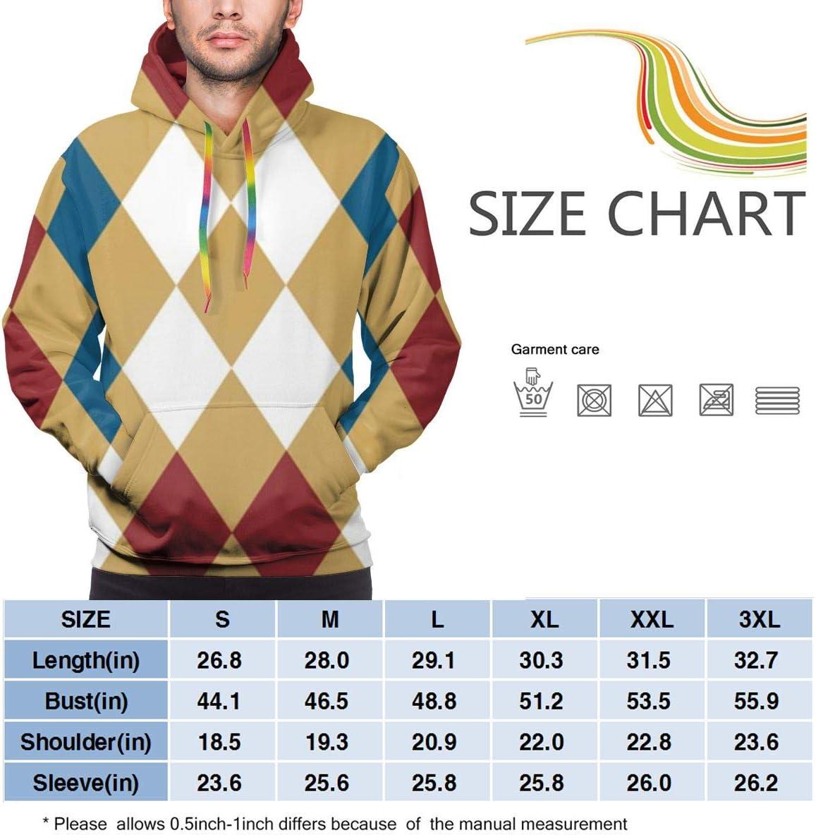DUDBFGG Classic Diamond Plaid Men Lightweight Hooded Sweatshirt Causal Sport Hoodie