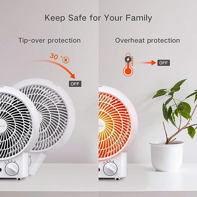 Aigostar Airwin White 33IEK -2000W Calefactor de aire con termostato regulable, función de aire caliente de dos niveles o ventilador con temperatura ...
