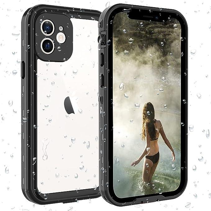 ShellBox Funda iphone 12 IP68 Impermeable con cuerda protector de pantalla integrado de silicona cuerpo completo resistente a prueba de golpes 360 ...