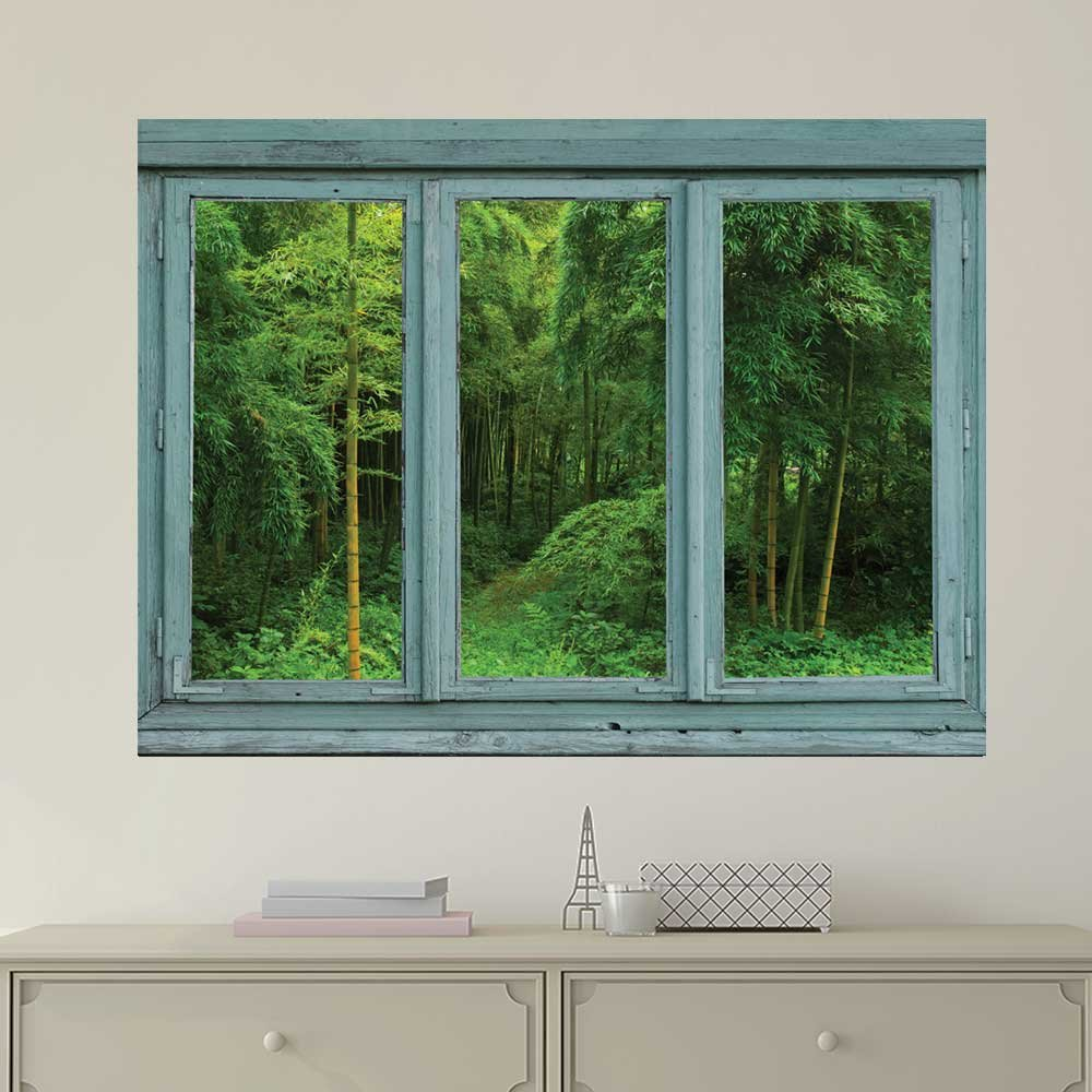 Wall26 art prints framed art canvas prints greeting wall26 vintage teal window looking out into a green jungle with a path wall mural removable sticker home decor 24x32 inches kristyandbryce Gallery