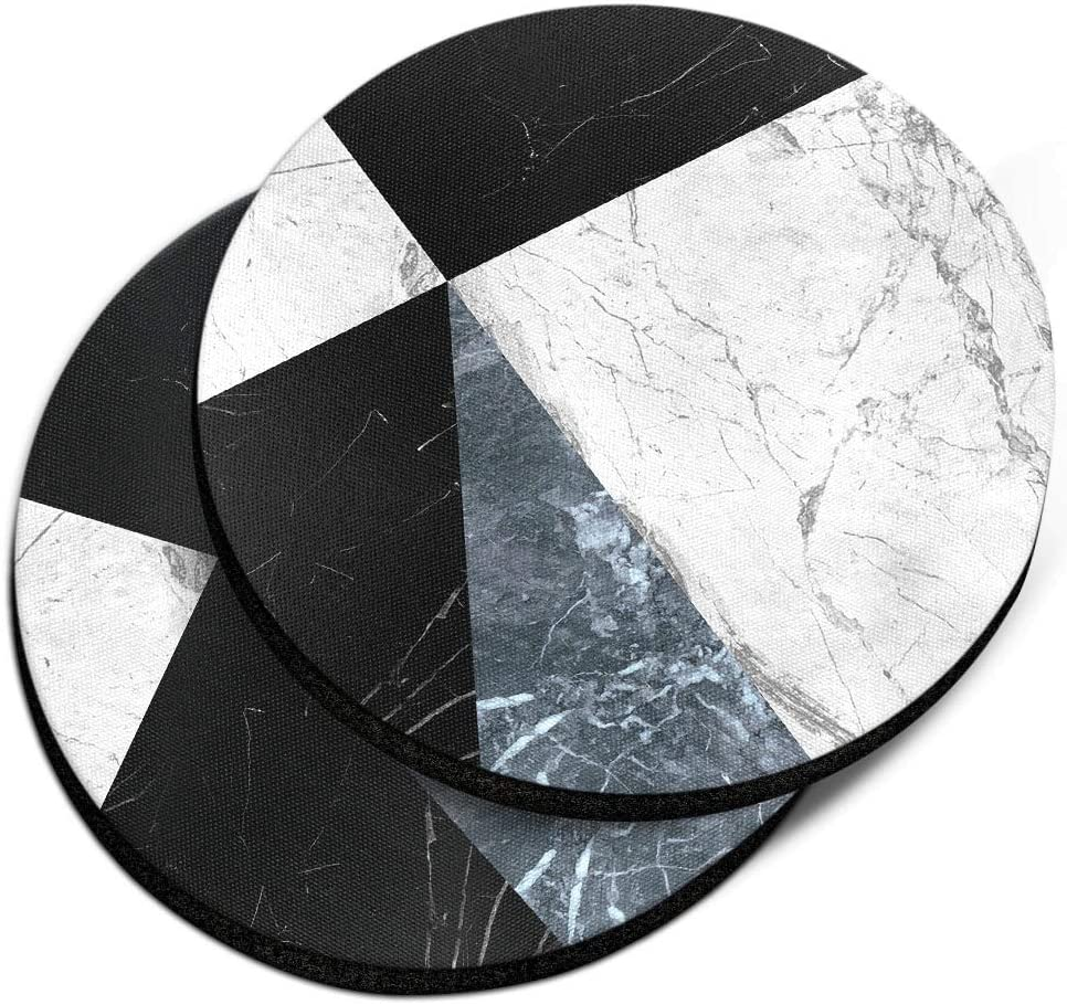 CARIBOU Coasters , Ray Black White Blue Marble Design Absorbent ROUND Fabric Felt Neoprene Car Coasters for Drinks, 2pcs Set