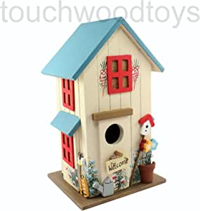 Novelty wooden bird box luxury bird house funny novelty birds nesting box ideal gift for bird lovers & gardeners FREE POSTAGE (Blue)