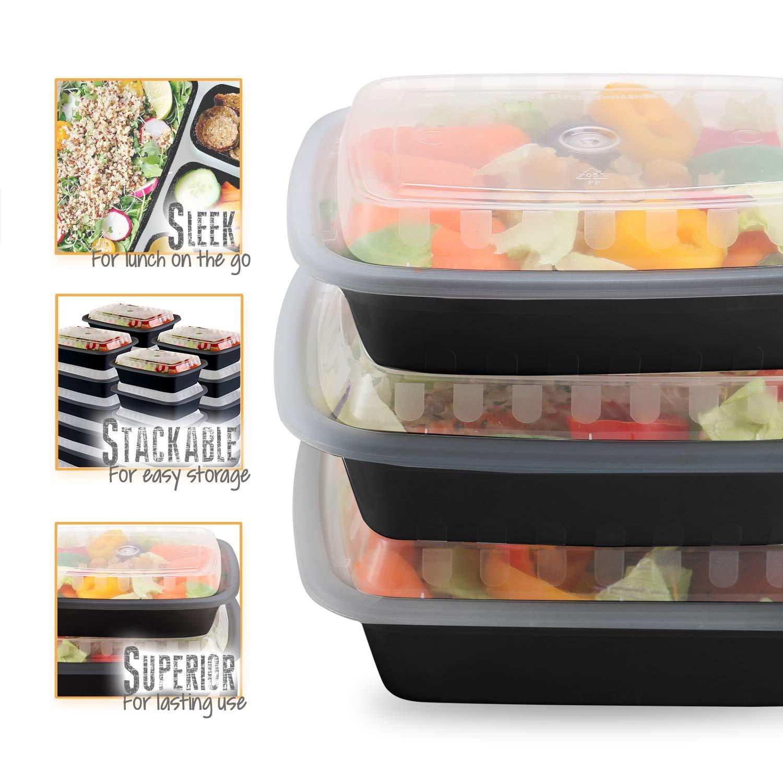 Amazon.com: Paquete de 50 recipientes para preparar comidas ...