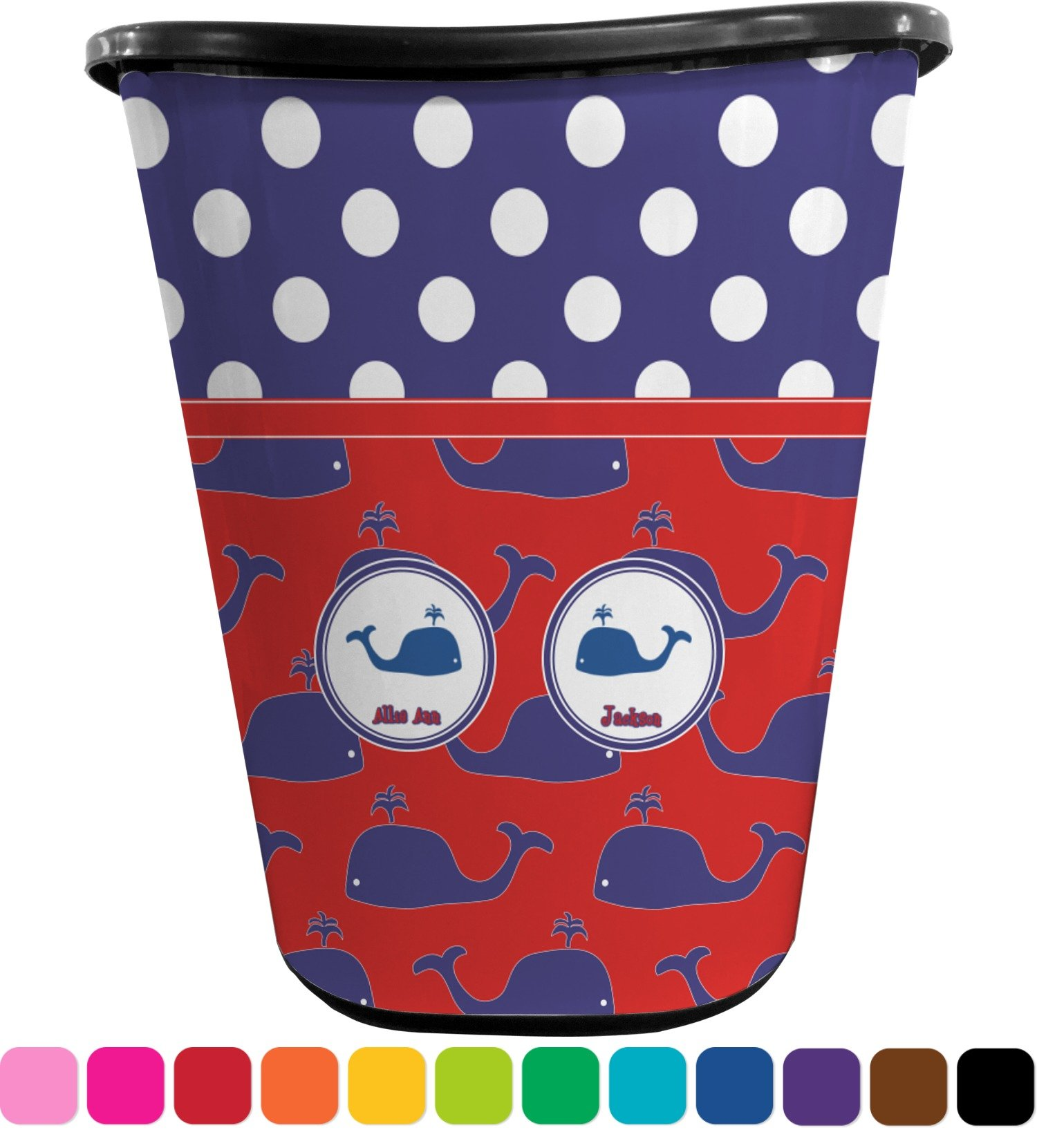 RNK Shops Whale Waste Basket - Double Sided (Black) (Personalized)