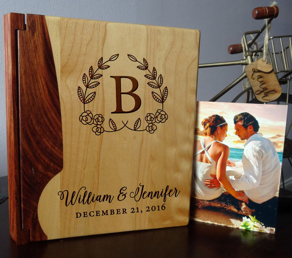 Personalized Wood Cover Photo Album, Custom Engraved Wedding Album, Style 105 (Maple & Rosewood Cover) LoveToCreateStamps