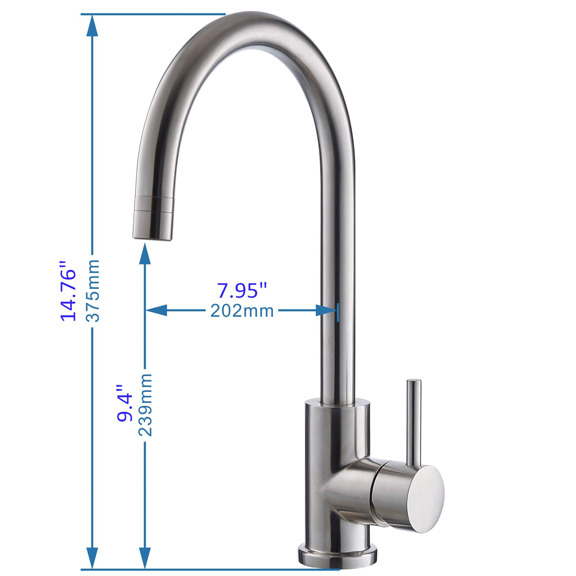 Trywell T304 Solid Stainless Steel Kitchen Sink Faucet, High Arc Single Lever Bar Faucet with Two-function Nozzle,1.8 Gpm by Trywell (Image #5)