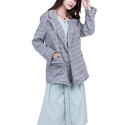 ALABEL Women's Tweed Blazer Tassel Trim Jacket Retro Button Plaid Double Breasted Coat with Pockets Light Gey at Amazon Women's Clothing store
