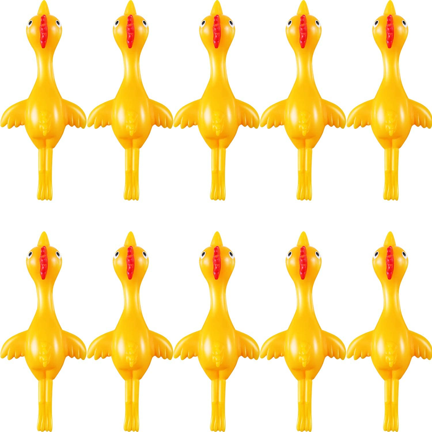 10 Pack Yellow Sumind 10 Pack Slingshot Chicken Rubber Chicken Flick Chicken Flying Chicken Flingers Stretchy Funny Christmas Easter Chicks Party Activity for Children