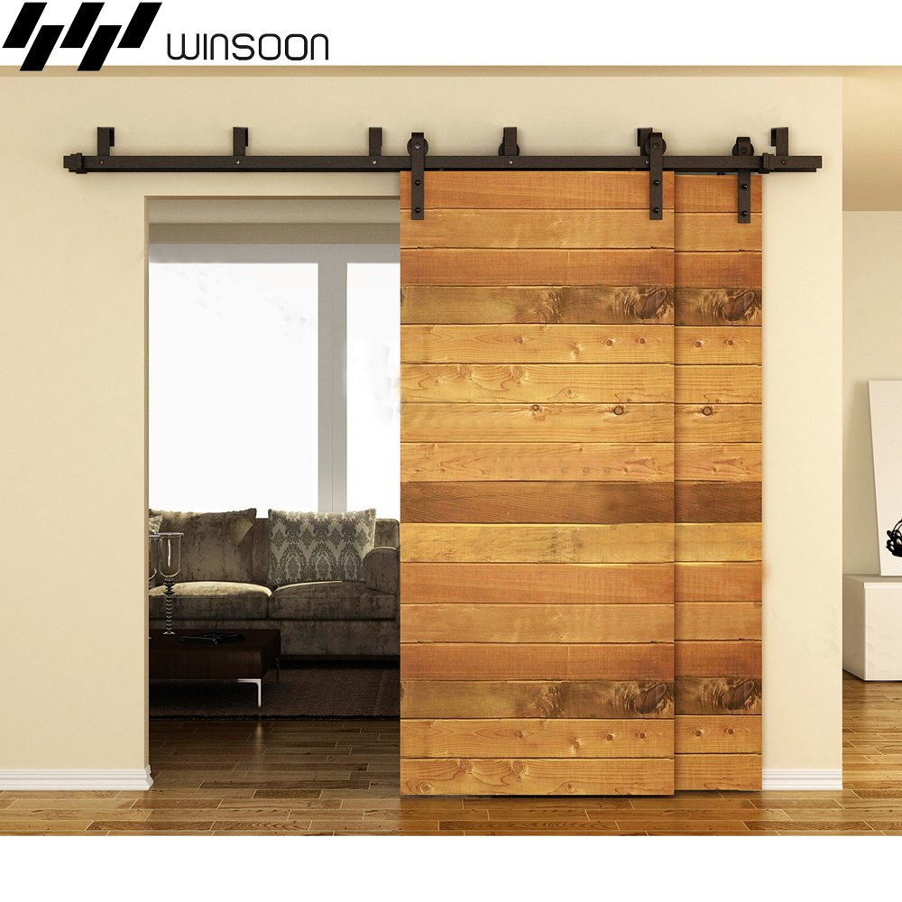 WINSOON New Bending Room Wall Mount Bypass Double Black Sliding Wood Door Roller Hardware Track Pulley Folding Steel Kit (6FT / Two Door Set) by WINSOON (Image #2)