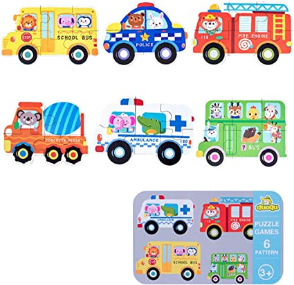 6 In 1 Animal Cartoon Wooden Traffic Puzzle Early Childhood Educational Kid Toy