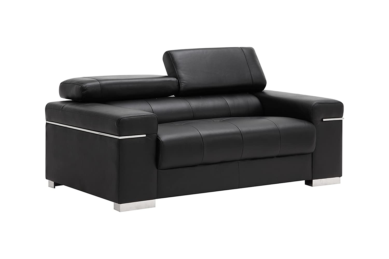 Amazon.com: J and M Furniture Soho Loveseat in Black Leather ...
