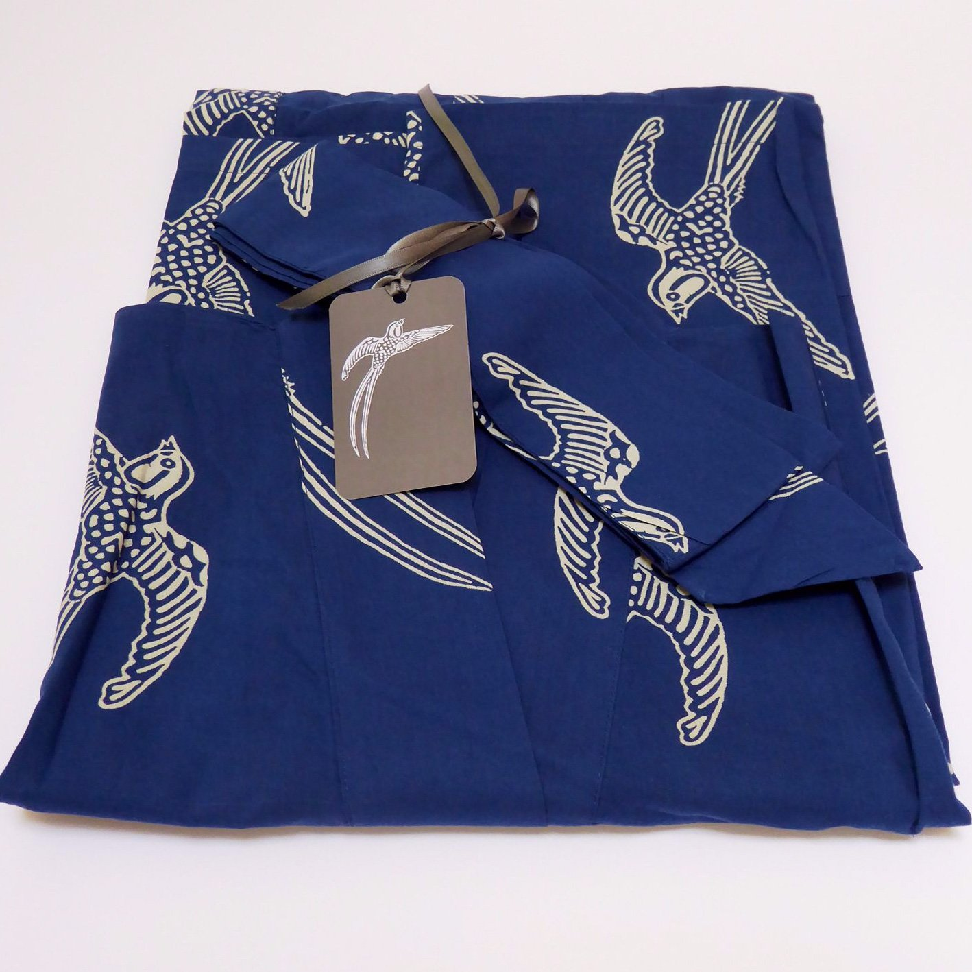 Top Seller Ladies Cotton Dressing Gown Kimono Robe // Lightweight 100/% cotton Hand-printed Single Size: 122cm//48 length Long Tailed Bird on Dark Blue