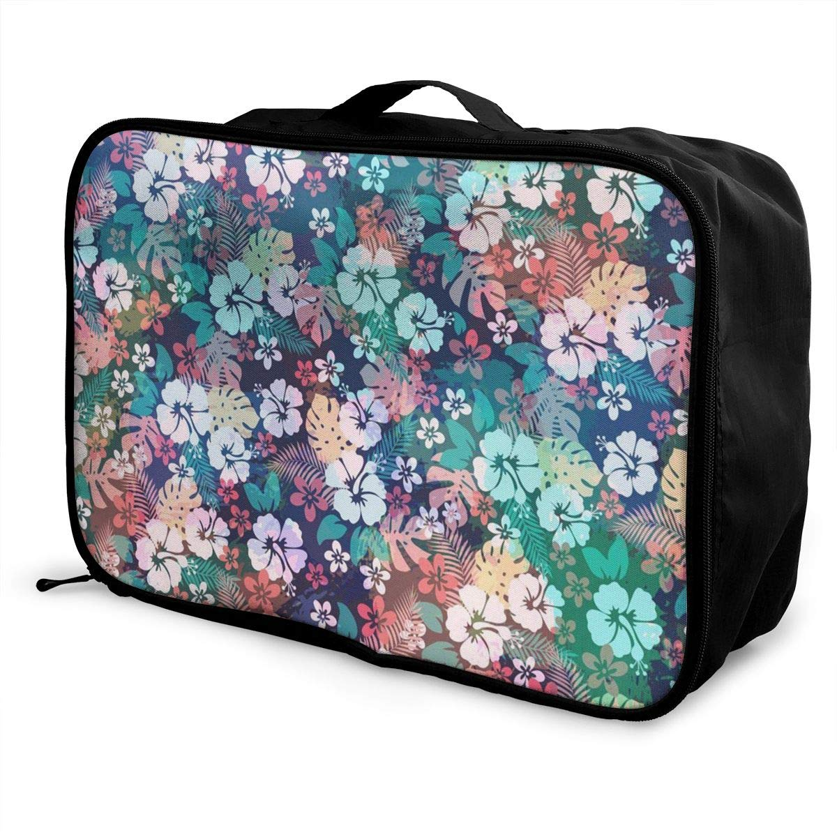 Lightweight Large Capacity Duffel Portable Luggage Bag Charming Hawaii Flower Travel Waterproof Foldable Storage Carry Tote Bag