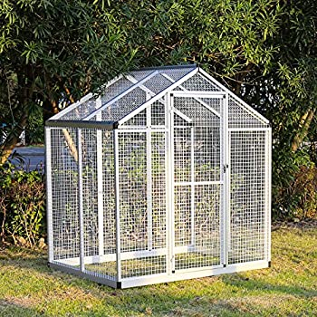 Kinbor 6u0027x4u0027 Walk In Large Aviary Bird Cage Iron Pet House Heavy Duty For  Parrot Macaw, W/One Door (cage, 1)