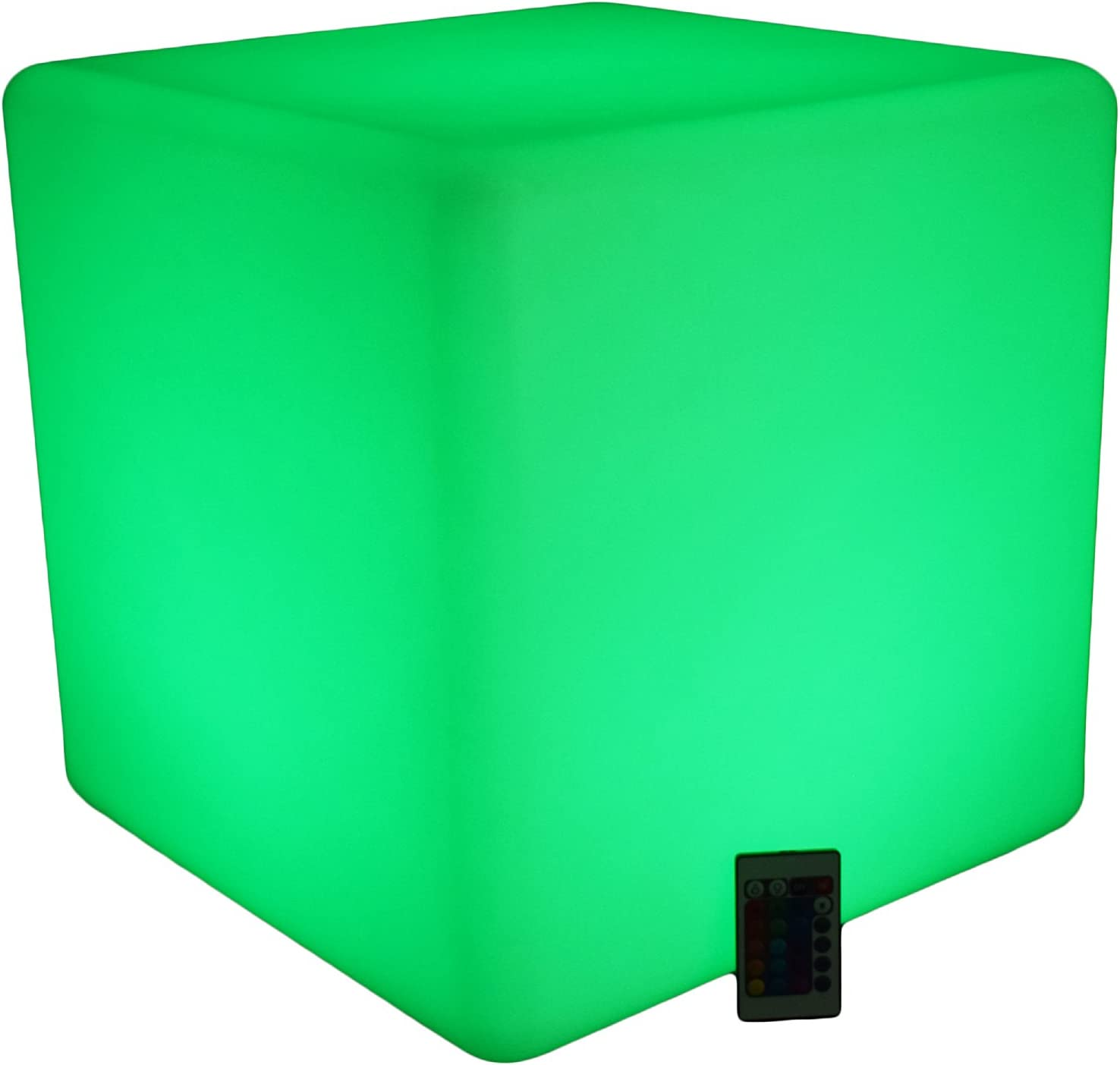 Illuminating Seating Cube - End Table - Ottoman - LED Cube 16 Color Changing Furniture with Remote Control - Cordless, Waterproof, Rechargeable - Glow Light up Furniture - for Indoor/Outdoor