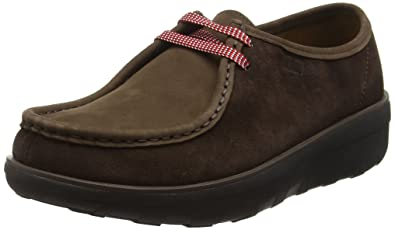 cfe602ee8ade FitFlop Womens Loaff Lace Up Moc Brown Suede Shoes 6 US