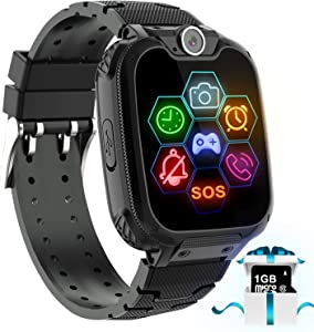 """Kids Game Smart Watch Phone - 1.54"""" Touch Screen Game Smartwatches with [1GB Micro SD Card] Call SOS Camera 7 Games Alarm Clock Music Player Record for Children Boys Girls for 4-12 Years (Black)"""