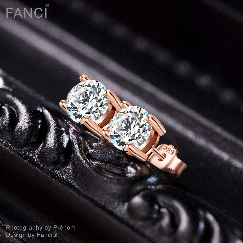 Or Rose//Argent 4MM-6MM Ronde Argent Sterling 925 Combat avec des Diamants FANCI Boucles dOreilles Zircone de Swarovski Cadeau Saint Valentin