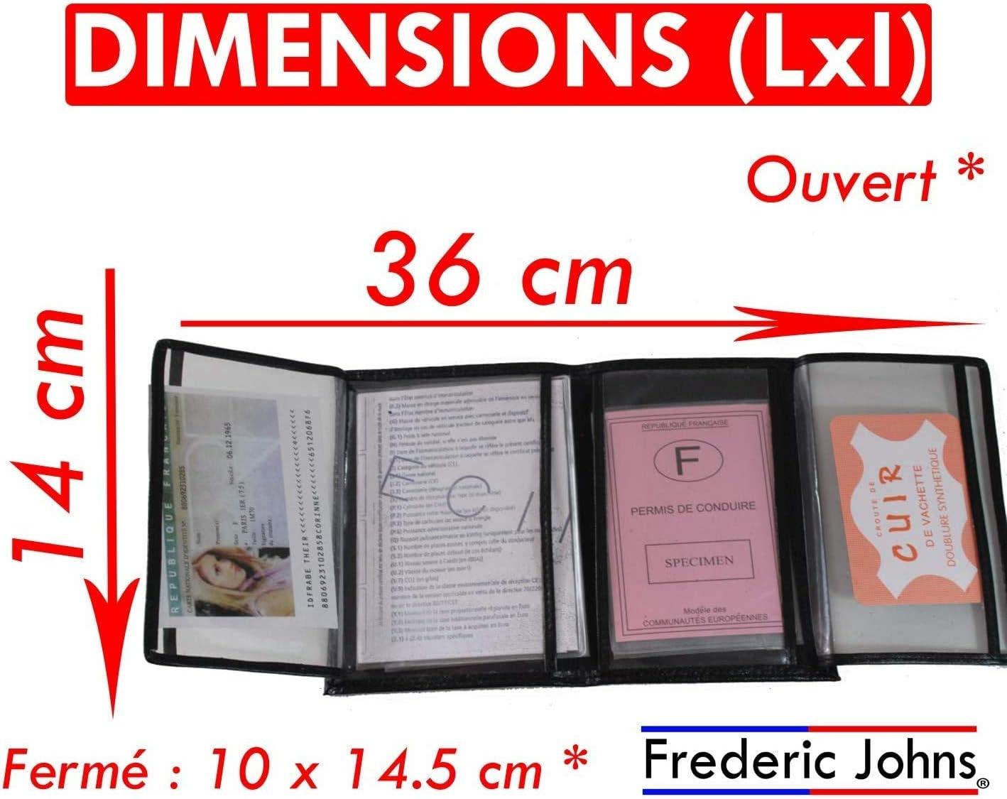 Cuir Souple pour Homme ou Femme Fr/éd/éric Johns/® /étui Carte Grise Cartes Porte Papier Voiture en Cuir Format 4 Volets Carte didentit/é Fuchsia tr/ès Complet permis