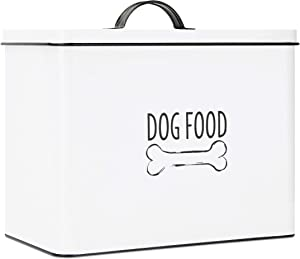OUTSHINE White Farmhouse Dog Food Bin - Can Be Personalized | Airtight Dog Food Storage Container with Lid | Powder Coated Carbon Steel | Cute Pet Food and Treat Canister | Gift for Dogs and Owners