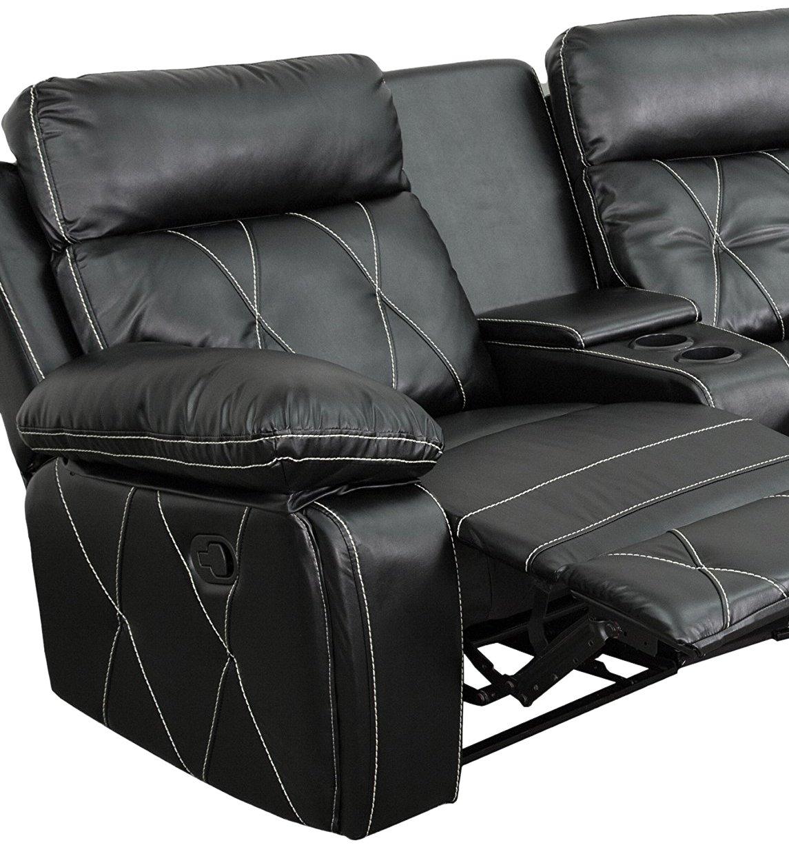 Amazon.com: Flash Muebles 3 asiento piel auténtica Theater ...