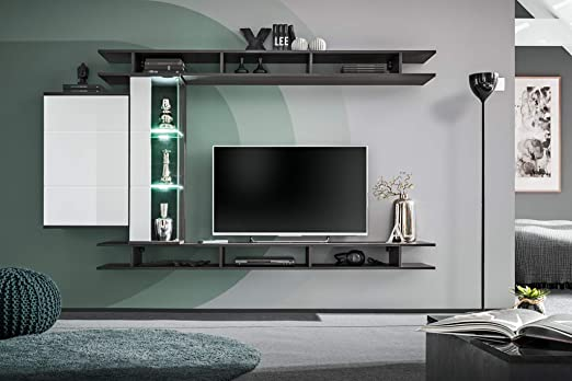 Olga 21 Wall Unit With Led Lighting In Graphite Oak And Graphite Oak And White High Gloss Amazon De Kuche Haushalt