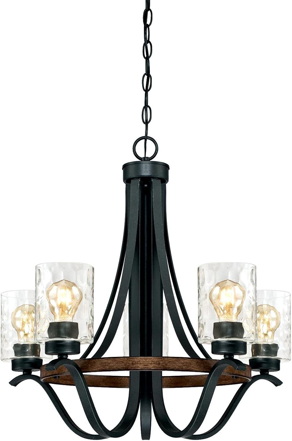 Westinghouse Lighting 6331900 Barnwell Five-Light Indoor Chandelier, Textured Iron and Barnwood Finish with Clear Hammered Glass, 5, Iron Barnwood