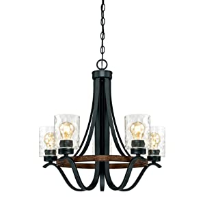 Westinghouse Lighting 6331900 Barnwell Five-Light Indoor Chandelier, Textured Iron and Barnwood Finish with Clear Hammered Glass 5