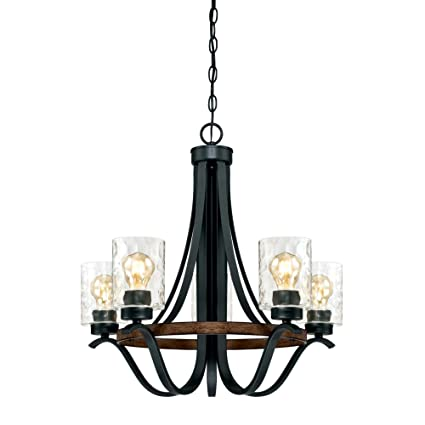 online store ab19c cdd2b Westinghouse Lighting 6331900 Barnwell Five-Light Indoor Chandelier,  Textured Iron and Barnwood Finish with Clear Hammered Glass, 5