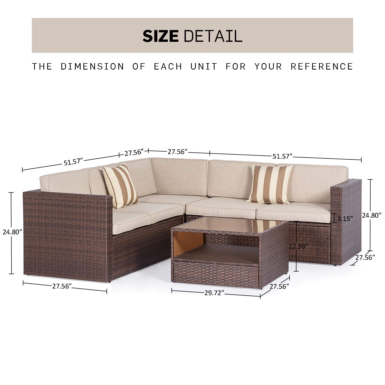 SOLAURA Outdoor 4-Piece Sofa Sectional Set All Weather Brown Wicker with Beige Waterproof Cushions Sophisticated Glass Coffee Table Patio, Backyard, Pool