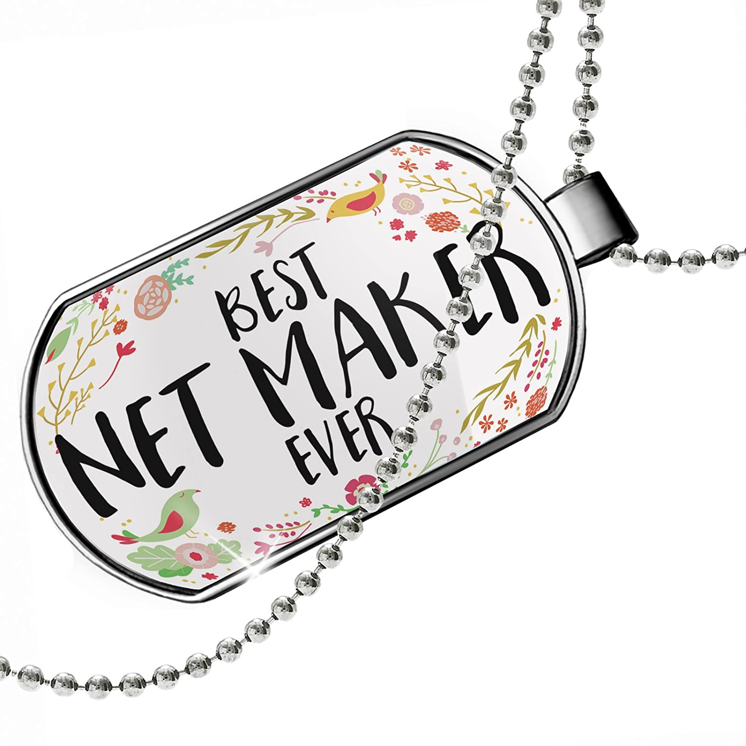 NEONBLOND Personalized Name Engraved Happy Floral Border Net Maker Dogtag Necklace