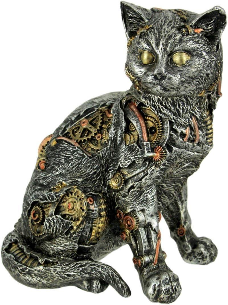 "Steampunk Kitty Cat Sitting Mechanical Figurine Statue Silver 8"" H"