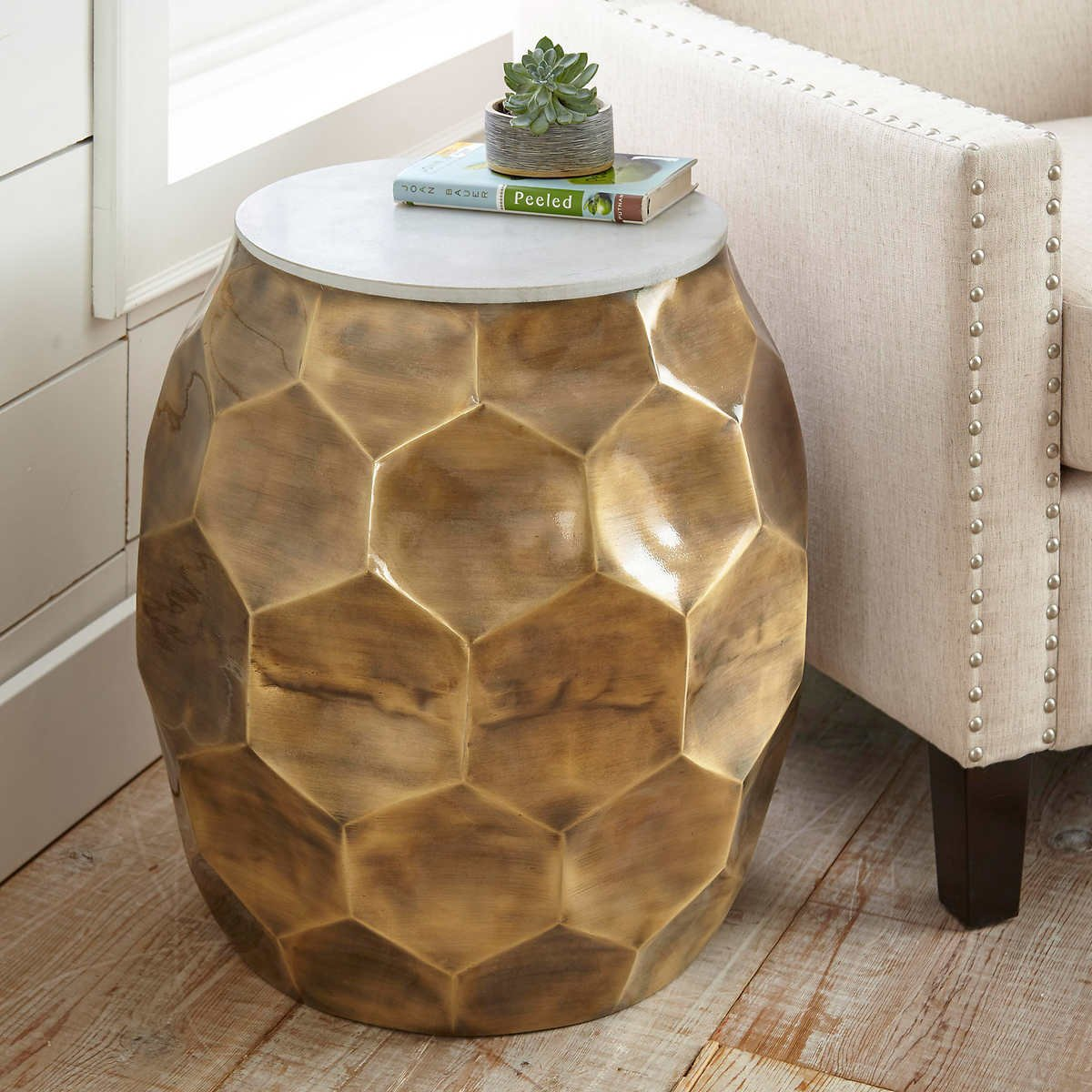 Subtly Unique,Versatile and Sophisticated Delhi End Table,100% Iron Base with Antique Brass Finish and White Marble Table Top .5'' Thick