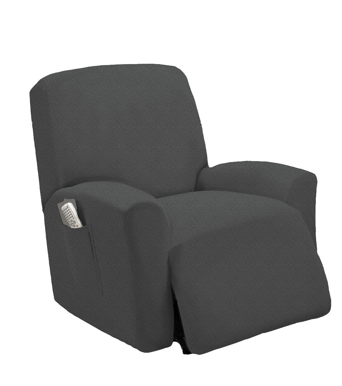Elegant Home One piece Stretch Recliner Chair Cover Furniture Slipcovers with Remote Pocket Fit most Recliner Chairs (Gray)