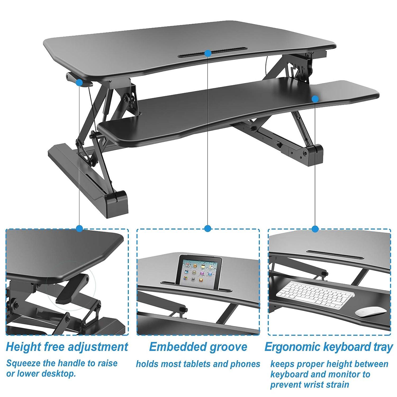 HFTEK Sitz-Steh-Desktop-Schreibtisch Arbeitsplatz Sit /& Stand Laptop Mount Workstation FY07LD