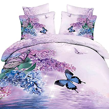 Butterfly And Purple Flower 3D Duvet Cover Sets 4 Piece 100% Cotton California  King
