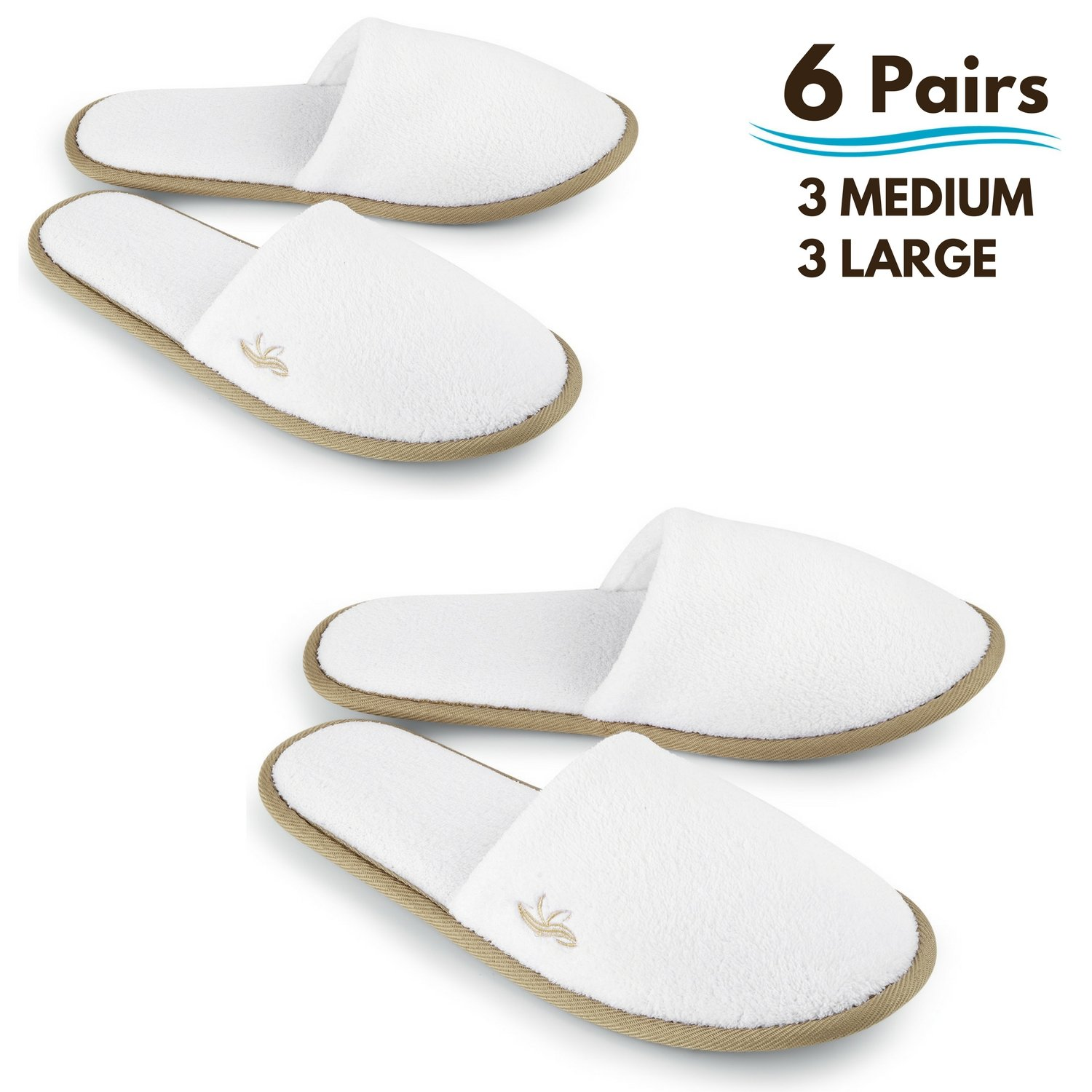 BERGMAN KELLY Spa Slippers, Closed Toe (White, Cocoa Trim, 6 Pairs- 3 Large, 3 Medium) Disposable Indoor Hotel Slippers for Men and Women, Fluffy Coral Fleece, Deluxe Padded Sole for Extra Comfort by BERGMAN KELLY (Image #1)
