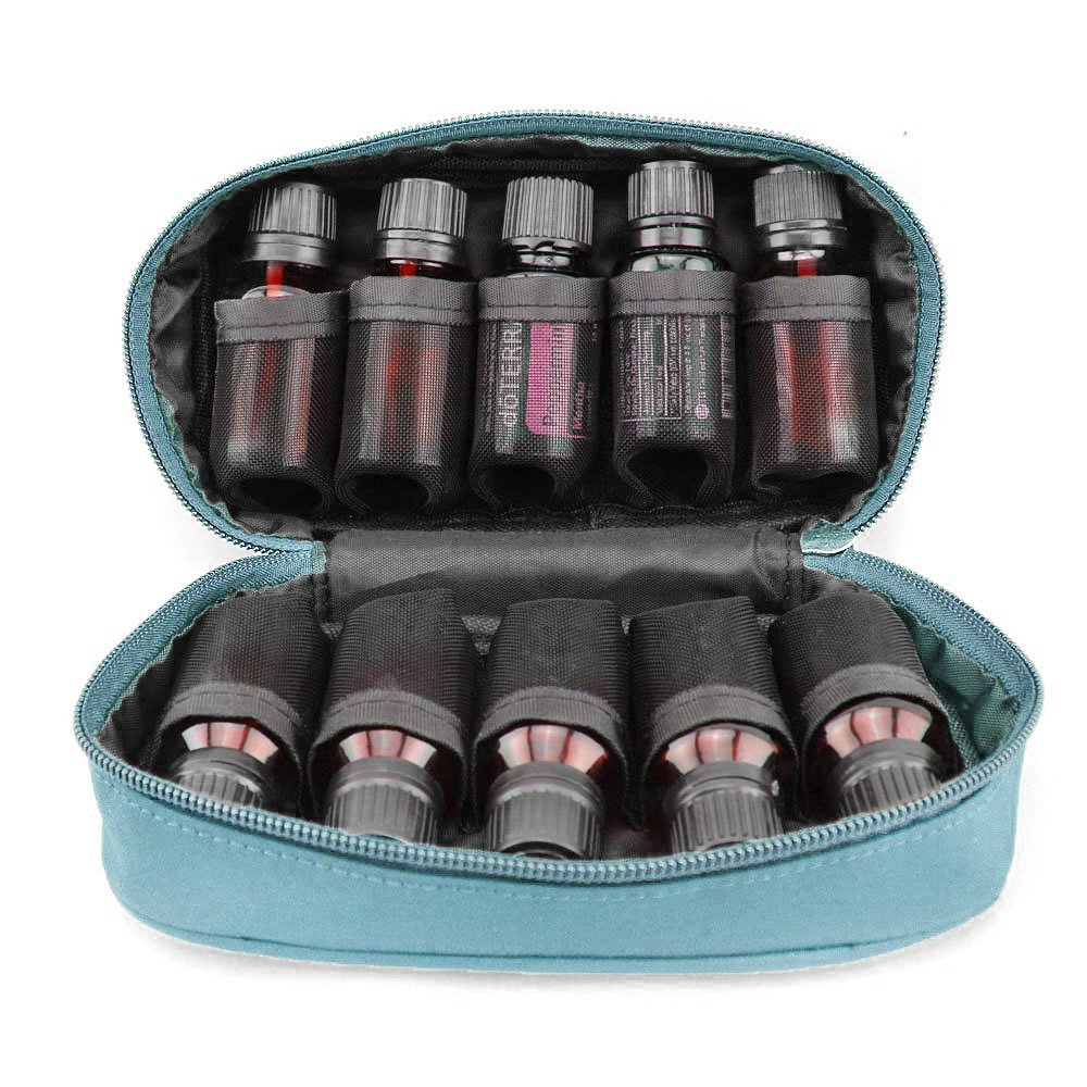 Soothing Terra Essential Oil Carrying Case - High Quality: Holds 10 Bottles - Size 5ML, 10ML, 15ML or 10 ML Roll-ons
