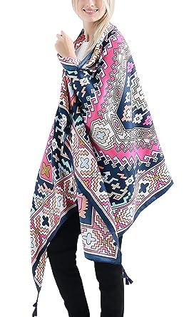 FEOYA Echarpe Mode Femme Poncho Motifs Géométriques Foulard Chaud Châle  Doux pour Printemps Automne b9c3de6ee50