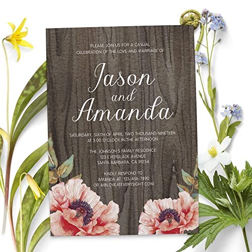 Rustic Custom Elopement Reception Invitation Cards Personalized Wedding Invitations Party