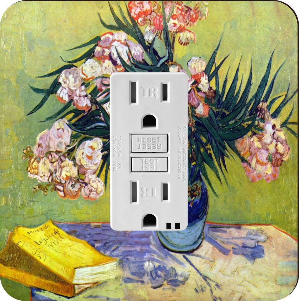 Rikki Knight 1456 Van Gogh Art Still Life with Oleander Design Light Switch Plate