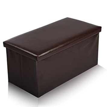 Large Faux Leather Ottoman Folding Storage Pouffe Toy Box Foot Stool Seat Single or Double in  sc 1 st  Amazon UK & Large Faux Leather Ottoman Folding Storage Pouffe Toy Box Foot ... Aboutintivar.Com